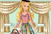 game Barbies Patchwork Peasant Dress