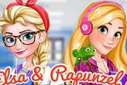 Elsa And Rapunzel College Girls Game
