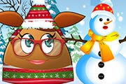 game Pou Girl Building A Snowman
