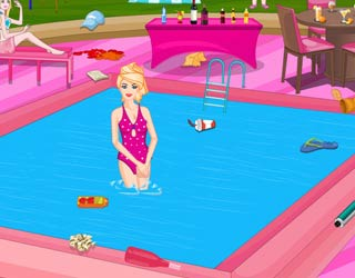 play free barbie pool party cleaning