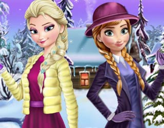 Game Elsa And Anna Winter Dress Up