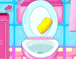 Play Free Pregnant Elsa Bathroom Cleaning