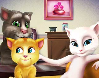 Game Talking Tom and Talking Angela kissing